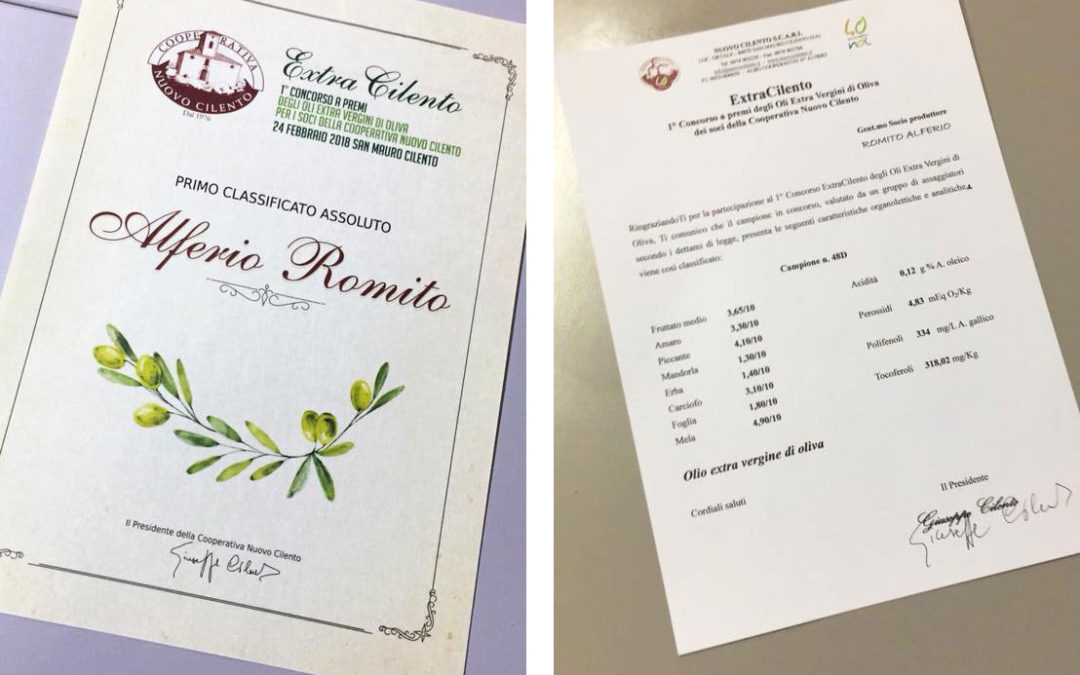Primo Classificato assoluto al Premio Extra Cilento